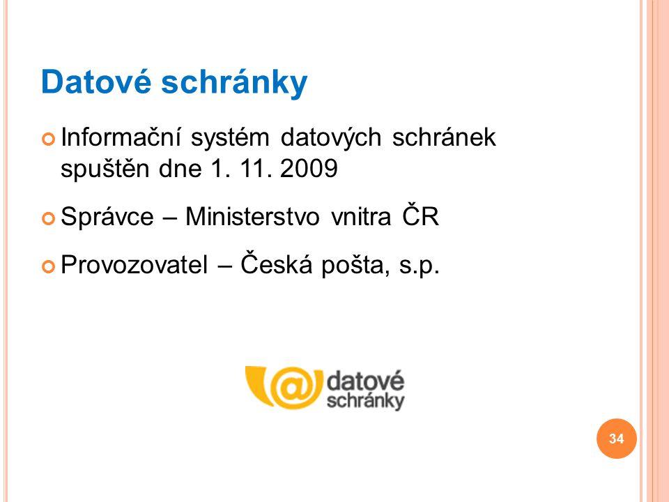 Datové schránky Informační systém datových schránek spuštěn dne 1. 11. 2009. Správce – Ministerstvo vnitra ČR.