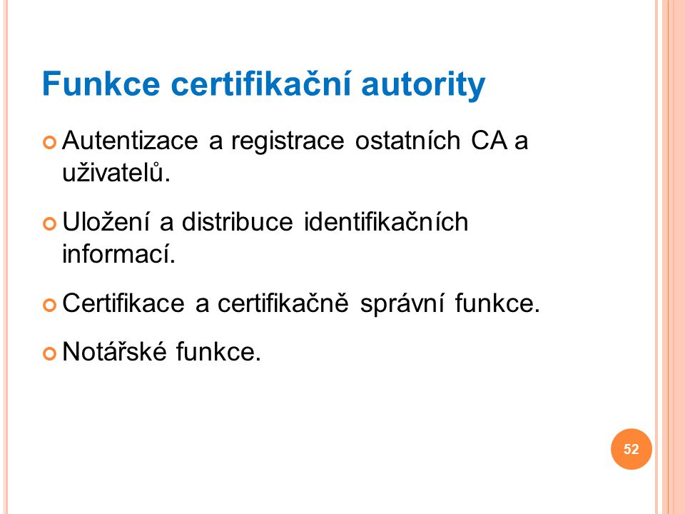 Funkce certifikační autority