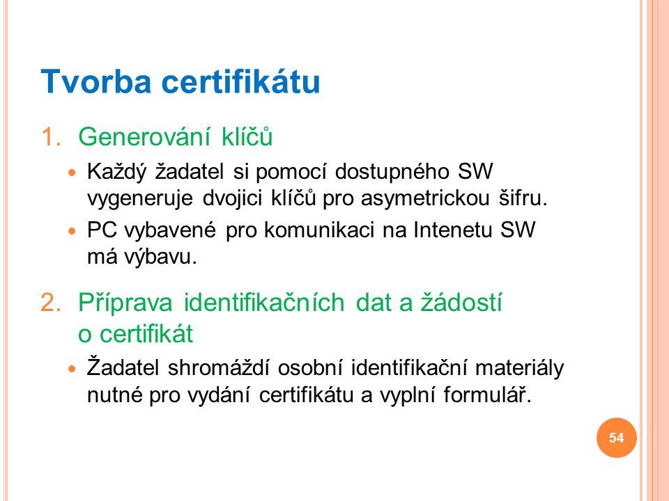 Tvorba certifikátu Generování klíčů