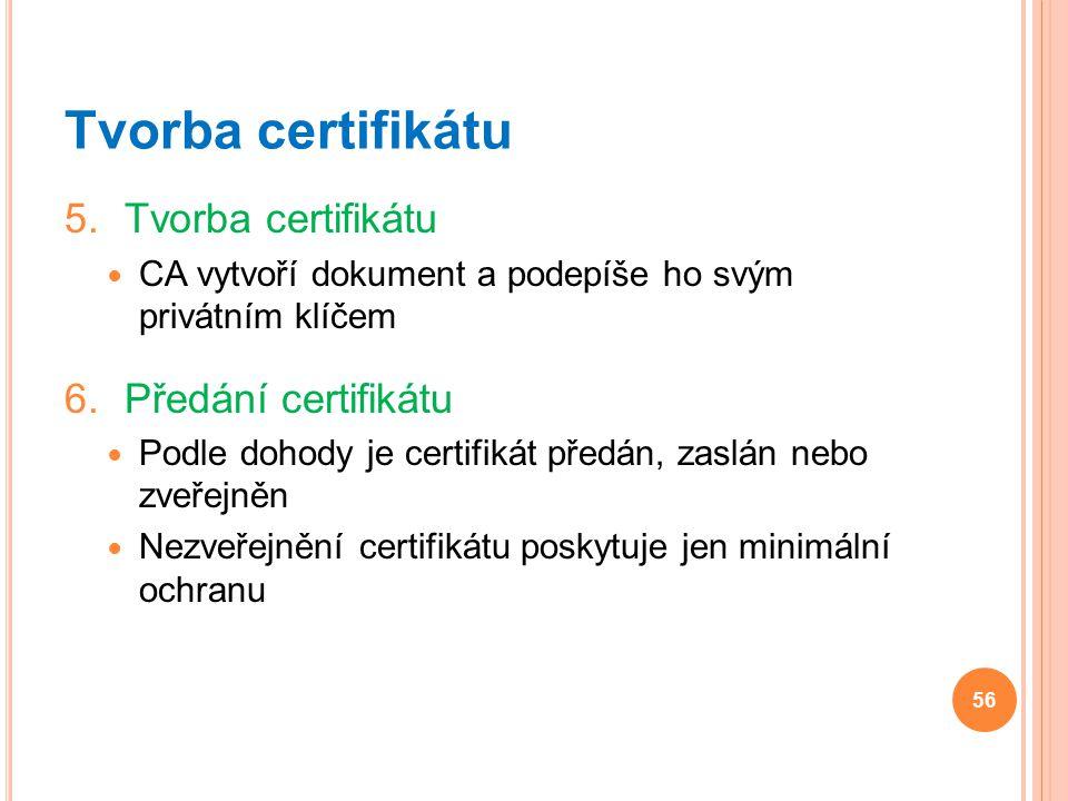 Tvorba certifikátu Tvorba certifikátu Předání certifikátu