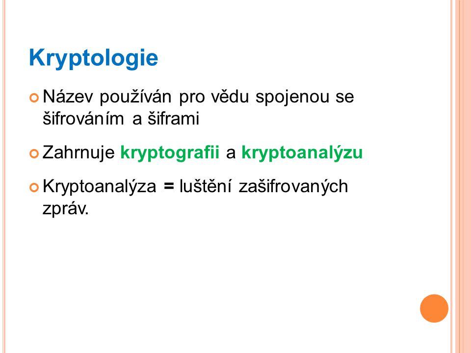 Kryptologie Název používán pro vědu spojenou se šifrováním a šiframi