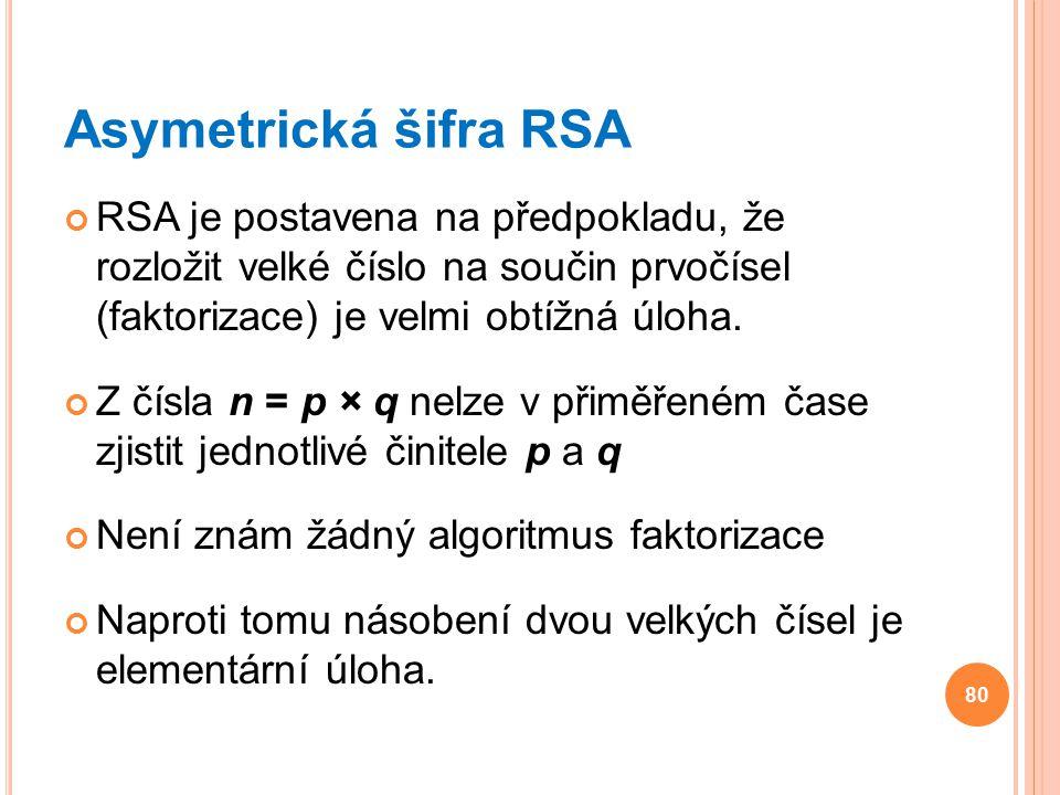 Asymetrická šifra RSA RSA je postavena na předpokladu, že rozložit velké číslo na součin prvočísel (faktorizace) je velmi obtížná úloha.
