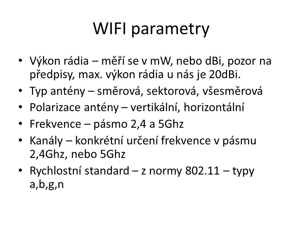 WIFI parametry Výkon rádia – měří se v mW, nebo dBi, pozor na předpisy, max. výkon rádia u nás je 20dBi.