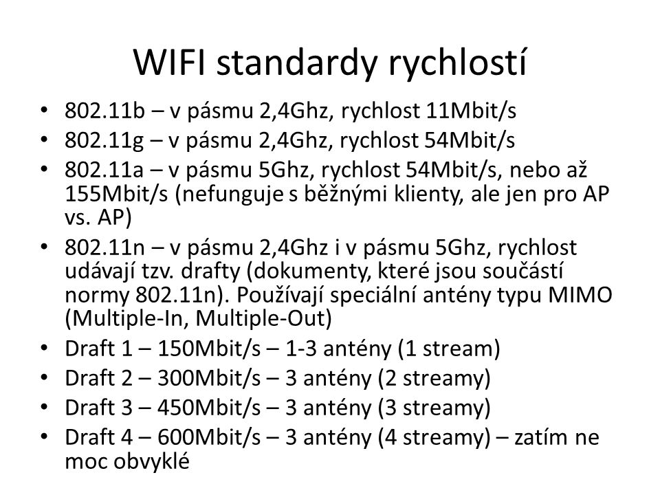 WIFI standardy rychlostí
