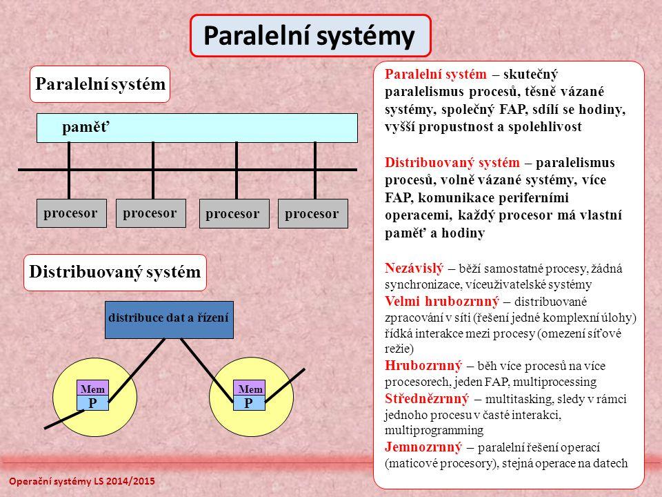 Paralelní systémy Paralelní systém Distribuovaný systém paměť