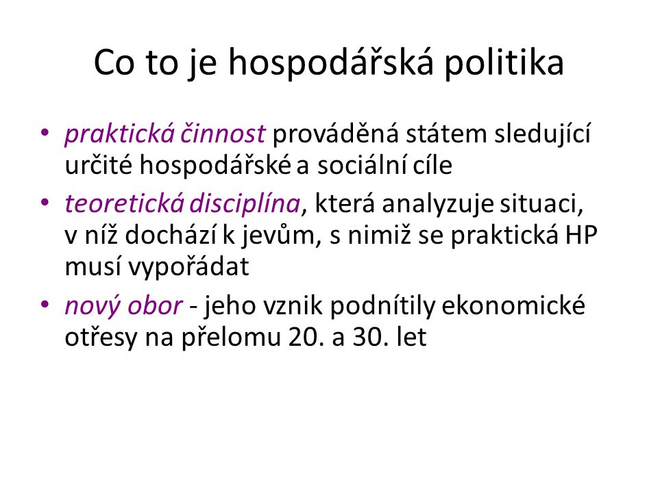 Co to je hospodářská politika
