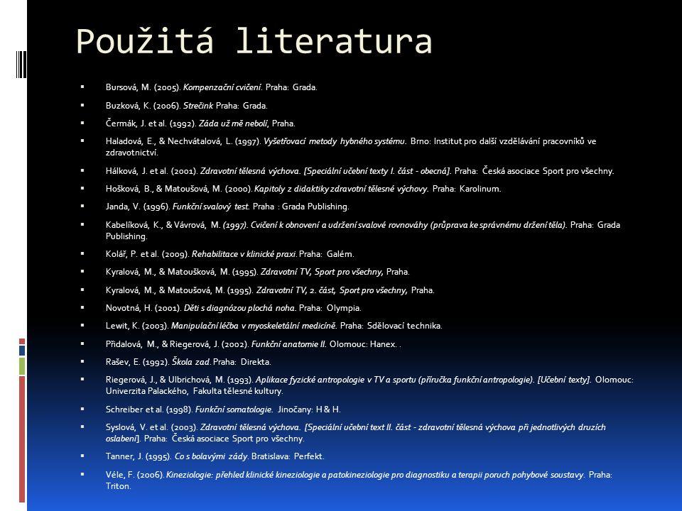 Použitá literatura Bursová, M. (2005). Kompenzační cvičení. Praha: Grada. Buzková, K. (2006). Strečink Praha: Grada.
