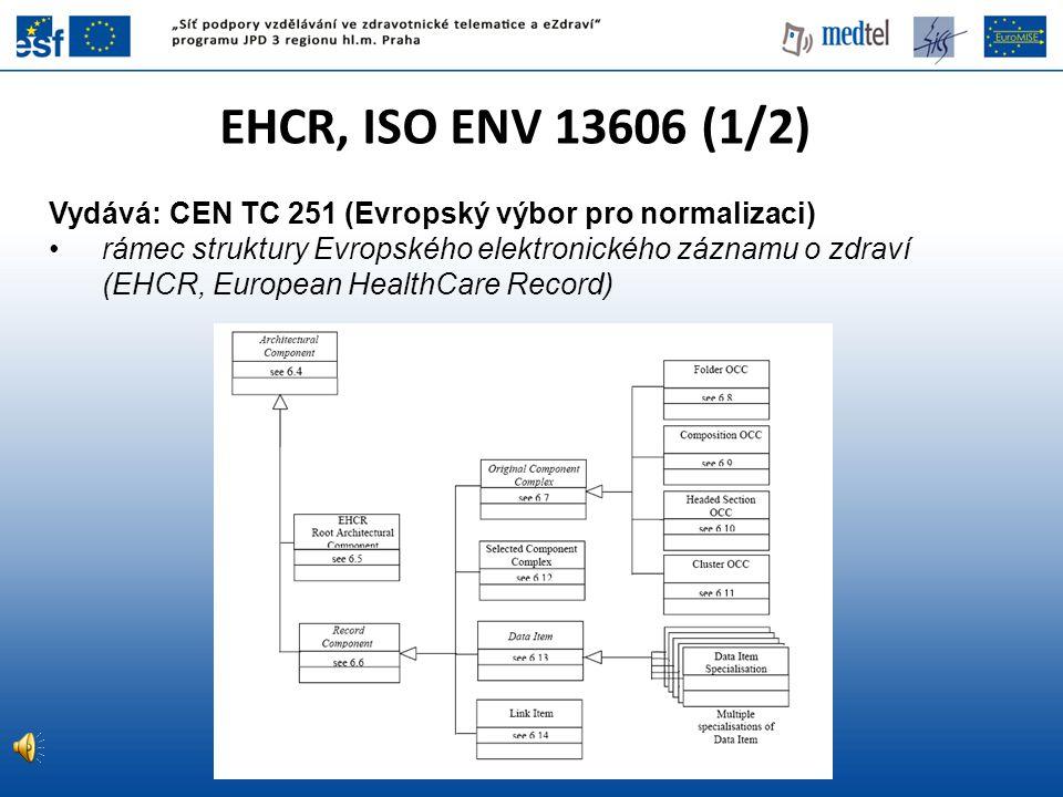 EHCR, ISO ENV 13606 (1/2) Vydává: CEN TC 251 (Evropský výbor pro normalizaci)