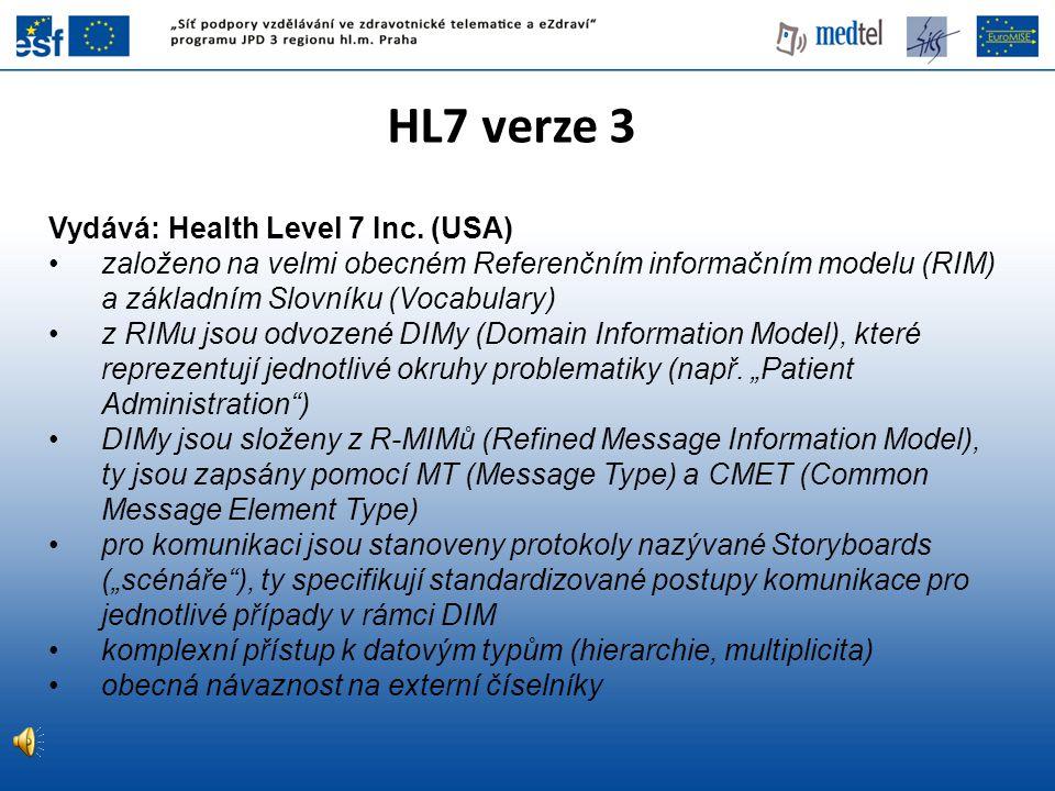 HL7 verze 3 Vydává: Health Level 7 Inc. (USA)