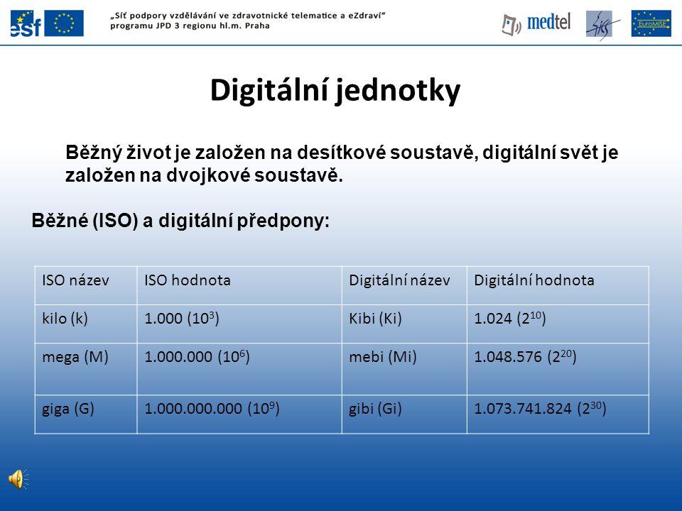Digitální jednotky Běžný život je založen na desítkové soustavě, digitální svět je založen na dvojkové soustavě.