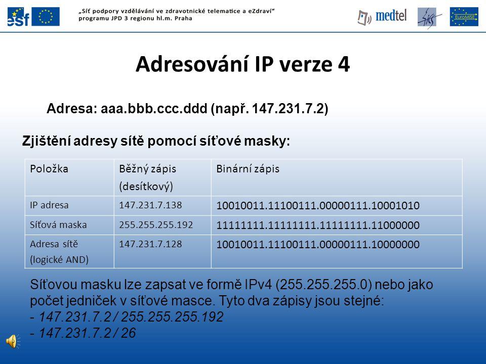Adresování IP verze 4 Adresa: aaa.bbb.ccc.ddd (např. 147.231.7.2)