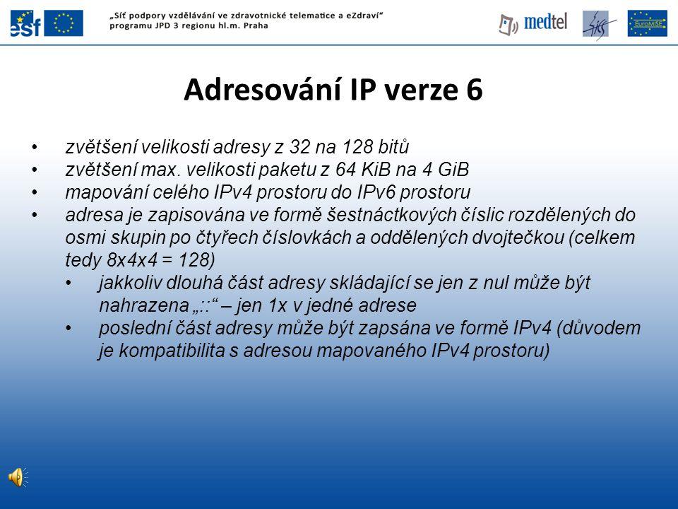 Adresování IP verze 6 zvětšení velikosti adresy z 32 na 128 bitů