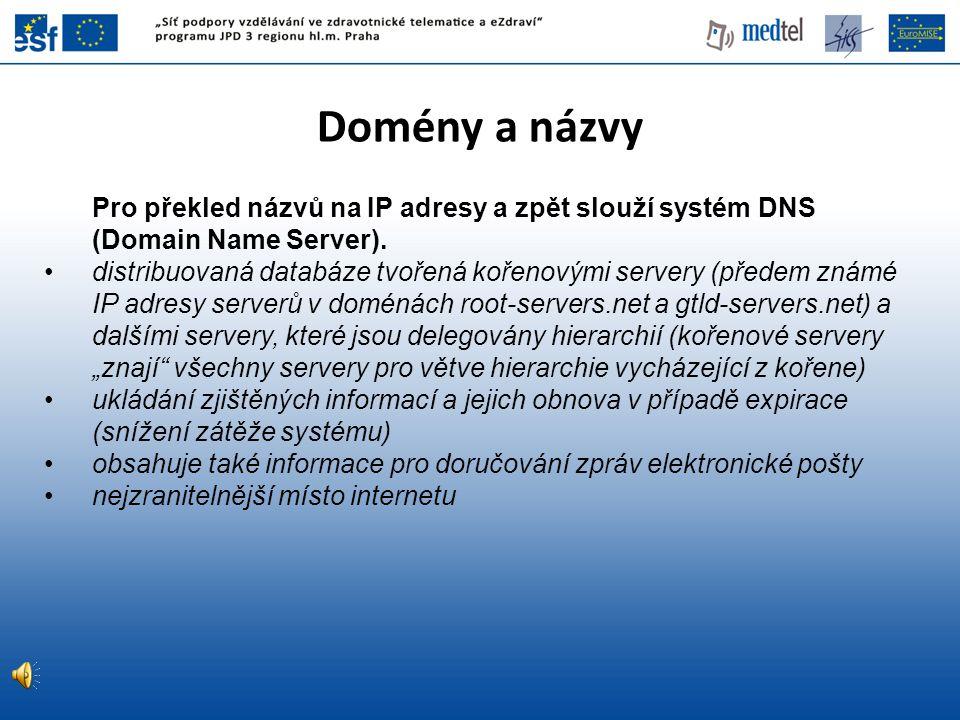 Domény a názvy Pro překled názvů na IP adresy a zpět slouží systém DNS (Domain Name Server).