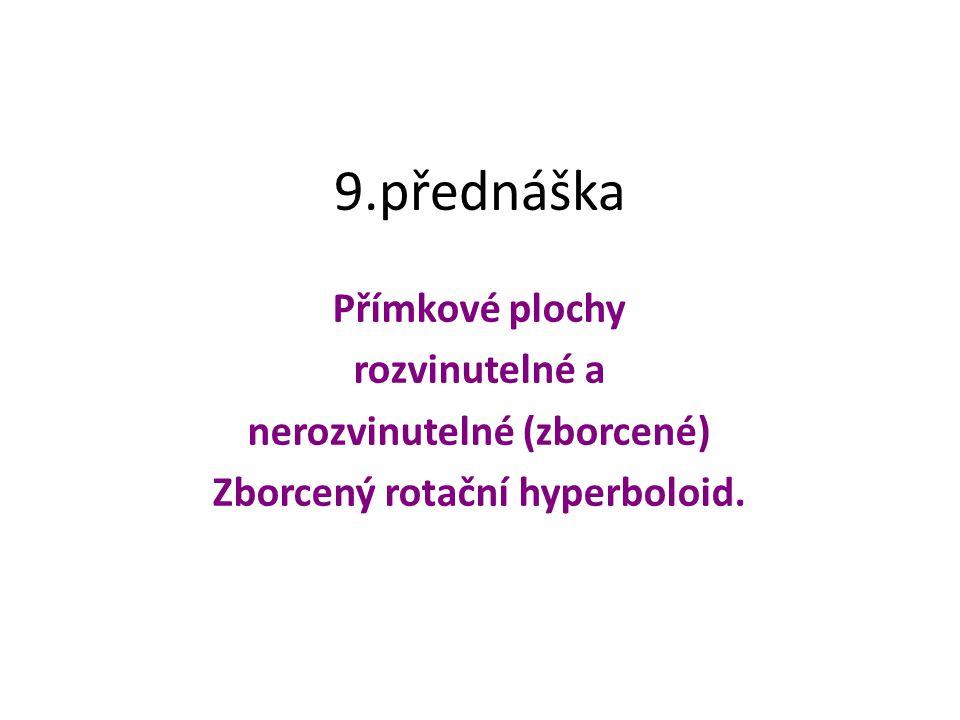 nerozvinutelné (zborcené) Zborcený rotační hyperboloid.