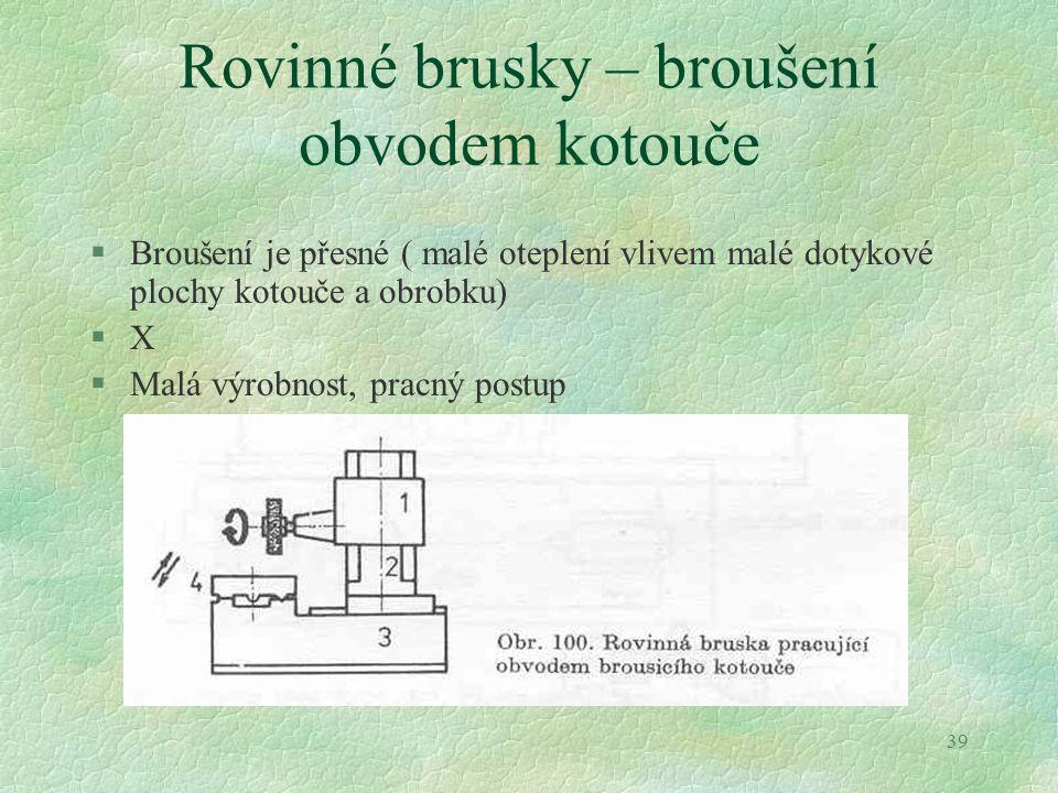 Rovinné brusky – broušení obvodem kotouče