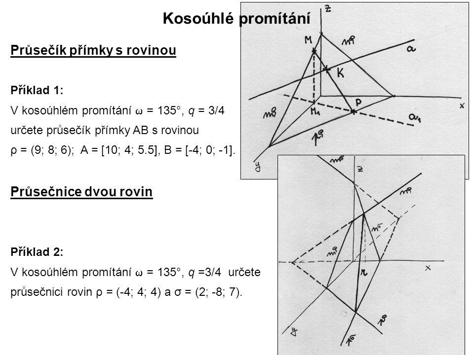Kosoúhlé promítání Průsečík přímky s rovinou Průsečnice dvou rovin