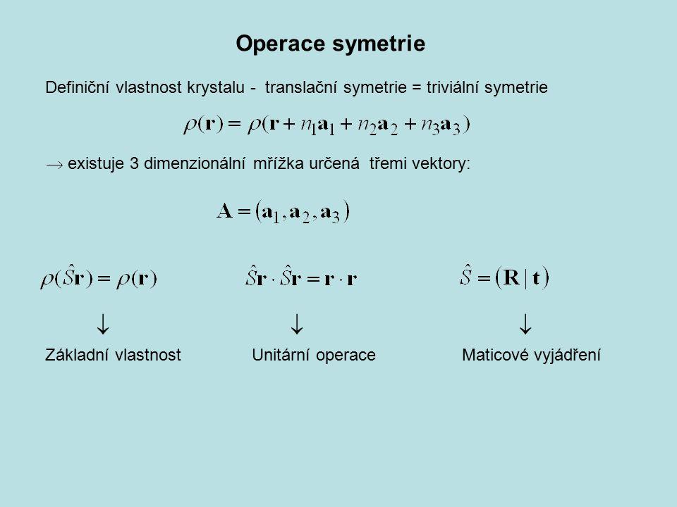 Základní vlastnost Unitární operace Maticové vyjádření