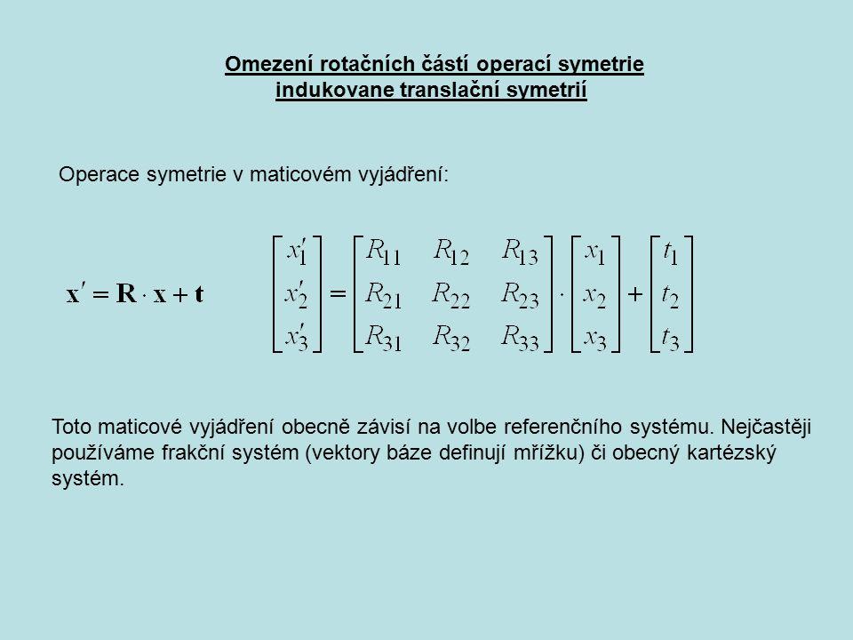 Omezení rotačních částí operací symetrie