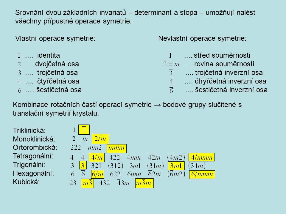 Srovnání dvou základních invariatů – determinant a stopa – umožňují nalést všechny přípustné operace symetrie: