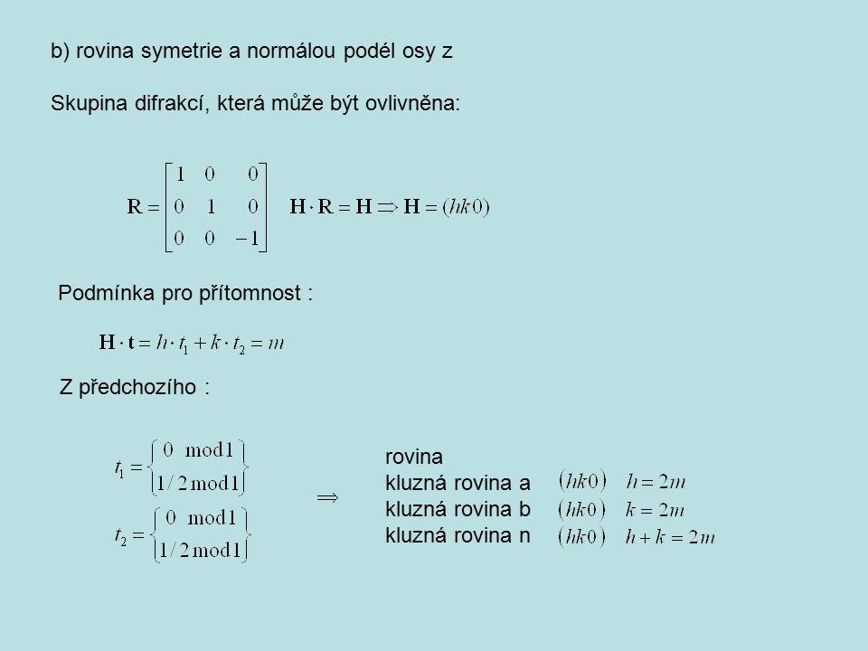 b) rovina symetrie a normálou podél osy z