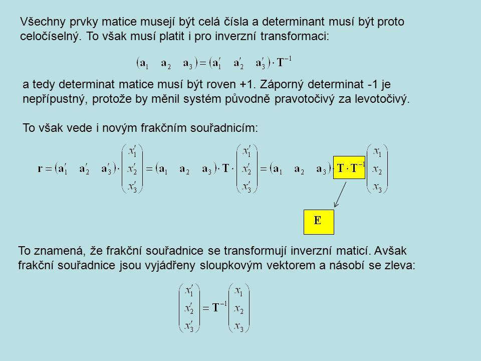 Všechny prvky matice musejí být celá čísla a determinant musí být proto celočíselný. To však musí platit i pro inverzní transformaci: