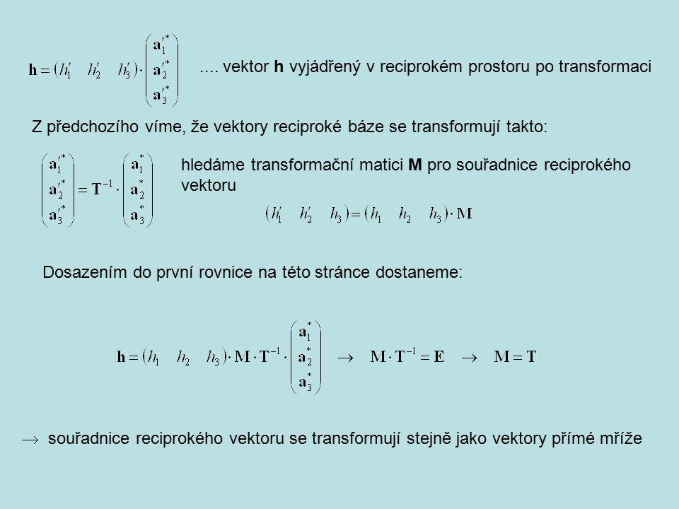 .... vektor h vyjádřený v reciprokém prostoru po transformaci