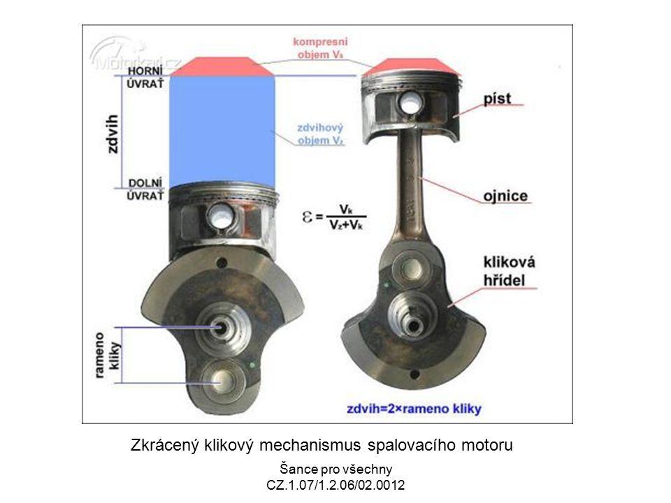 Zkrácený klikový mechanismus spalovacího motoru