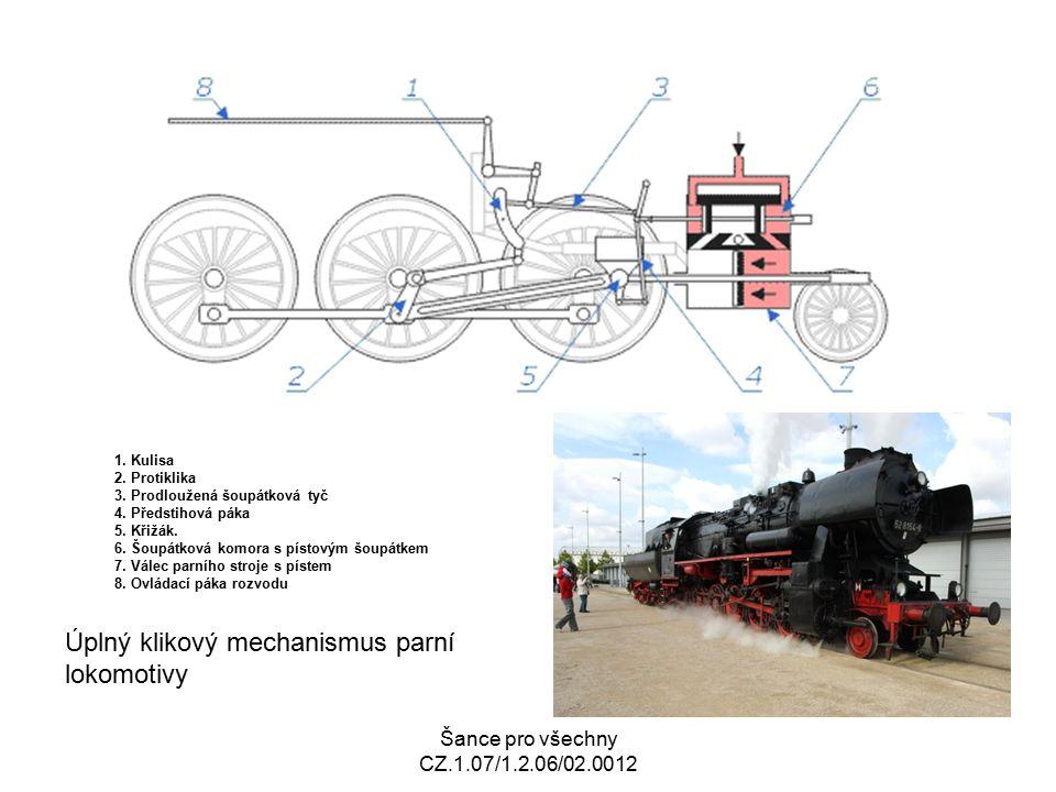 Úplný klikový mechanismus parní lokomotivy