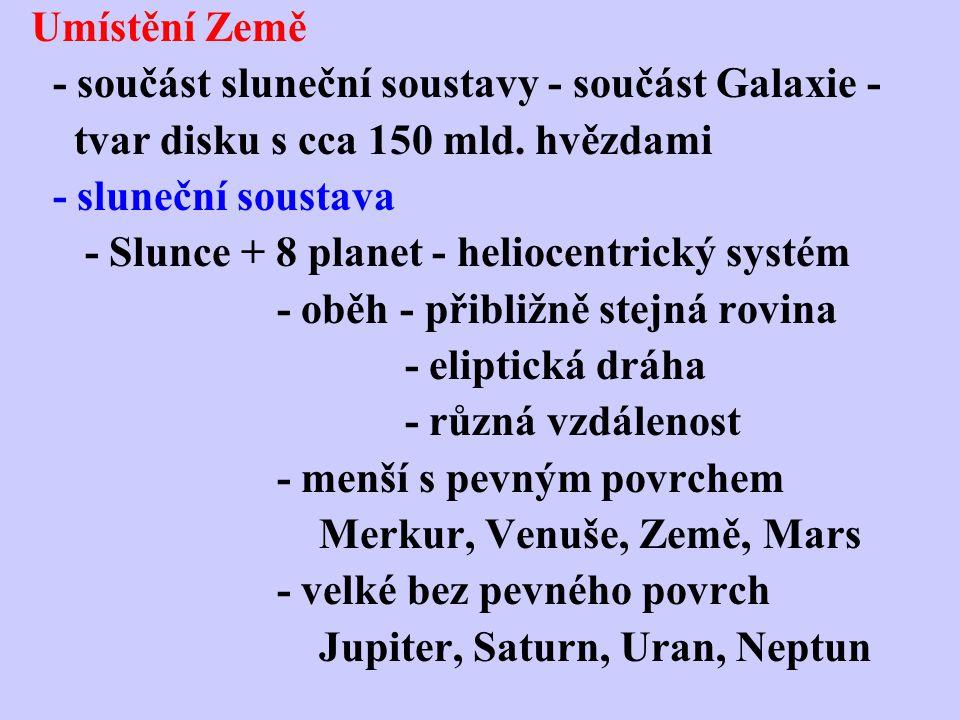 Umístění Země - součást sluneční soustavy - součást Galaxie - tvar disku s cca 150 mld. hvězdami. - sluneční soustava.