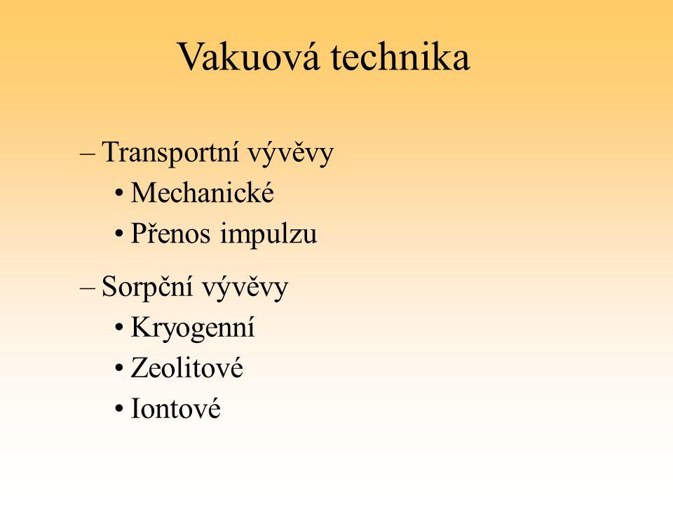 Vakuová technika Transportní vývěvy Mechanické Přenos impulzu
