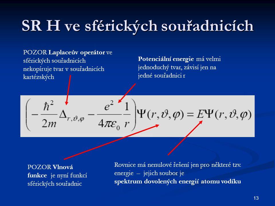 SR H ve sférických souřadnicích