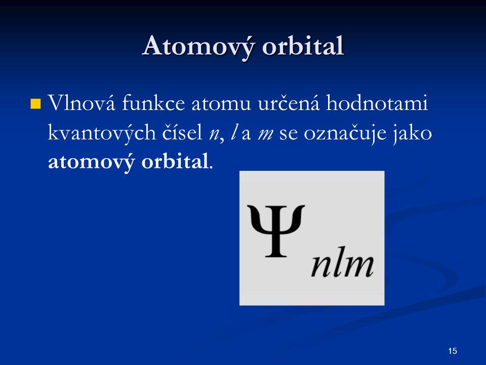 Atomový orbital Vlnová funkce atomu určená hodnotami kvantových čísel n, l a m se označuje jako atomový orbital.