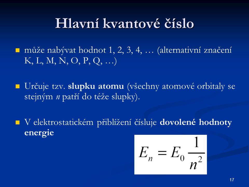 Hlavní kvantové číslo může nabývat hodnot 1, 2, 3, 4, … (alternativní značení K, L, M, N, O, P, Q, …)