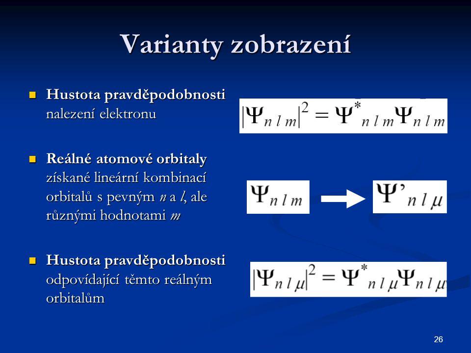 Varianty zobrazení Hustota pravděpodobnosti nalezení elektronu