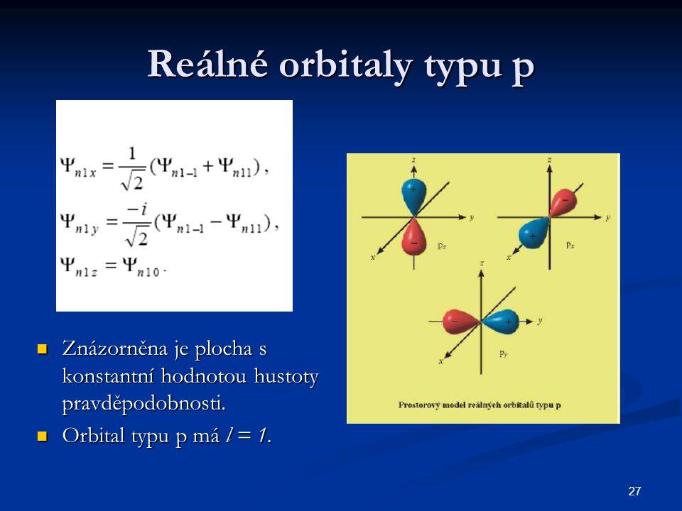 Reálné orbitaly typu p Znázorněna je plocha s konstantní hodnotou hustoty pravděpodobnosti.
