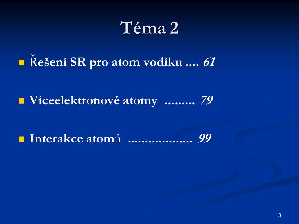 Téma 2 Řešení SR pro atom vodíku .... 61