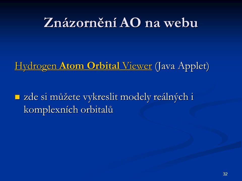 Znázornění AO na webu Hydrogen Atom Orbital Viewer (Java Applet)