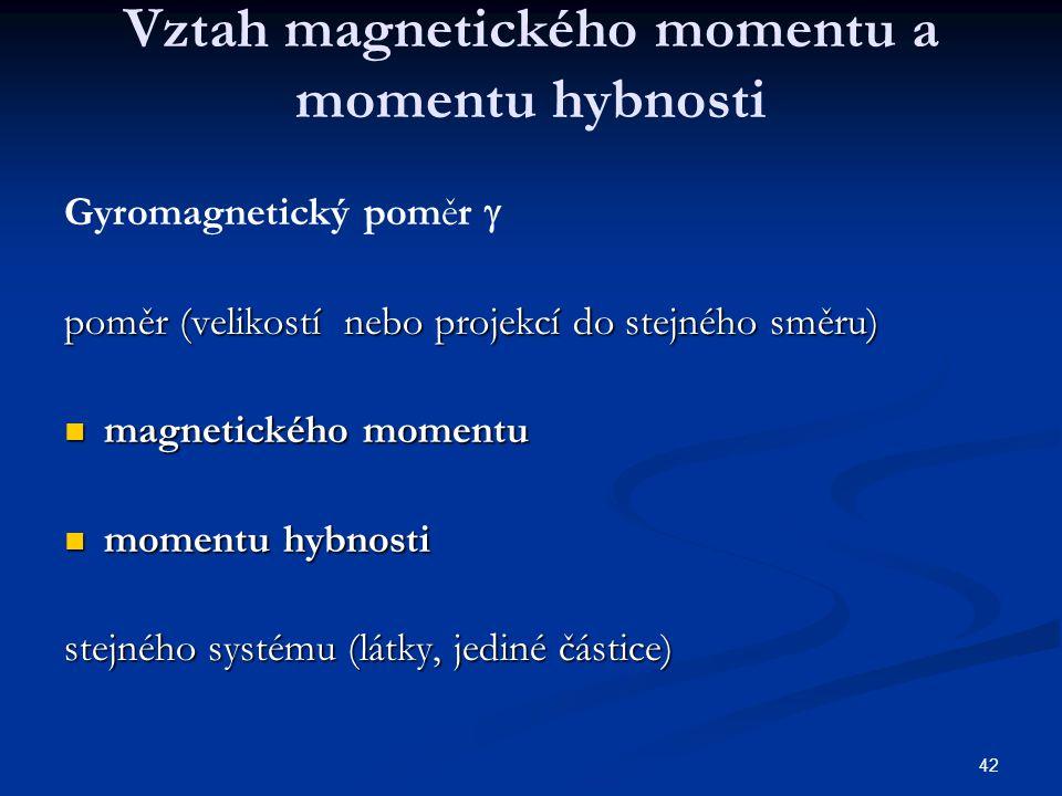 Vztah magnetického momentu a momentu hybnosti