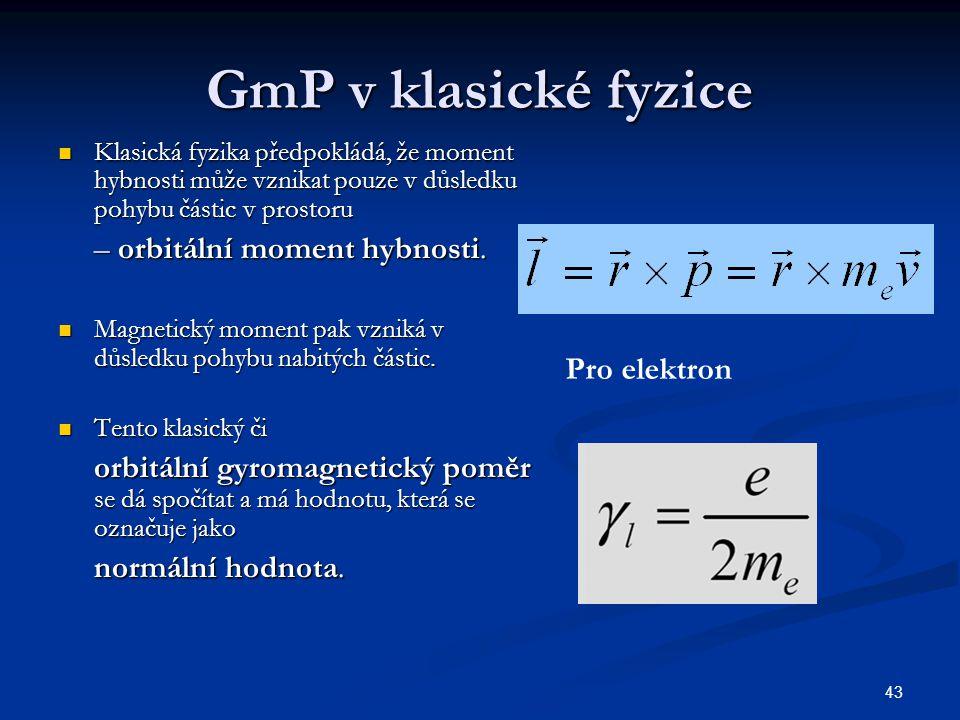 GmP v klasické fyzice – orbitální moment hybnosti. normální hodnota.