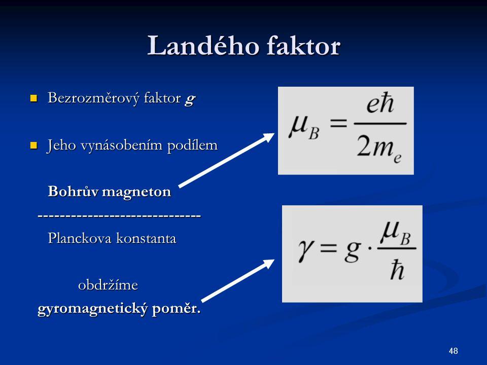 Landého faktor Bezrozměrový faktor g Jeho vynásobením podílem