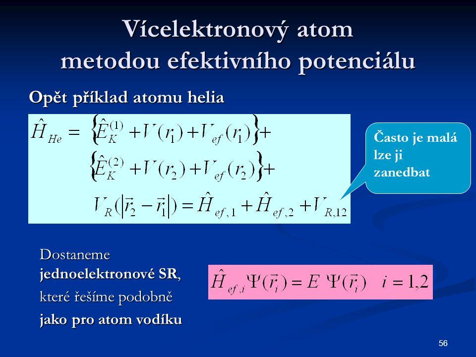 Vícelektronový atom metodou efektivního potenciálu