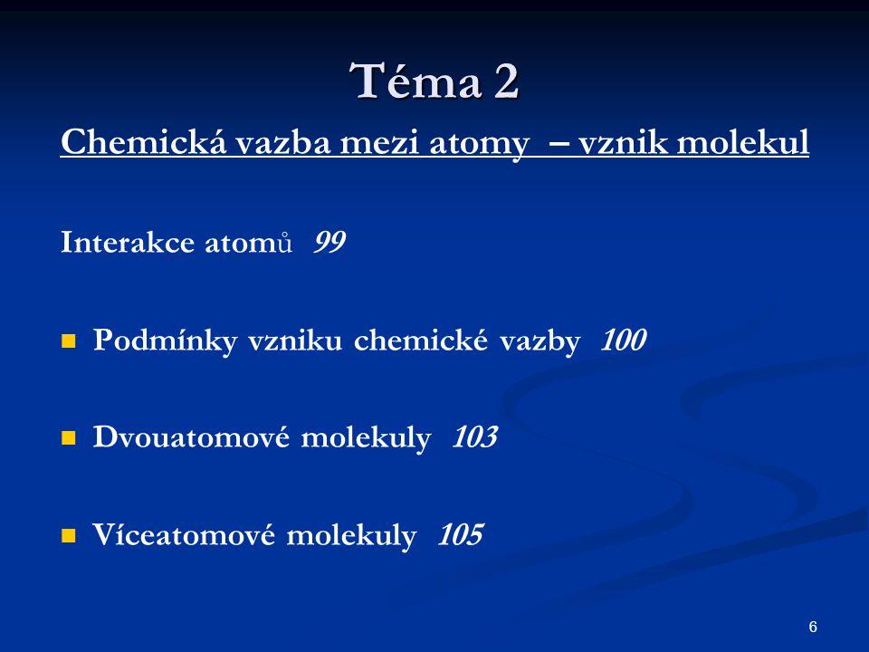 Téma 2 Chemická vazba mezi atomy – vznik molekul Interakce atomů 99