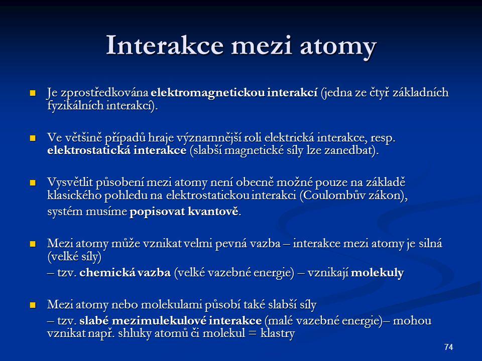 Interakce mezi atomy Je zprostředkována elektromagnetickou interakcí (jedna ze čtyř základních fyzikálních interakcí).