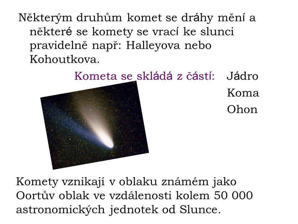 Některým druhům komet se dráhy mění a některé se komety se vrací ke slunci pravidelně např: Halleyova nebo Kohoutkova.