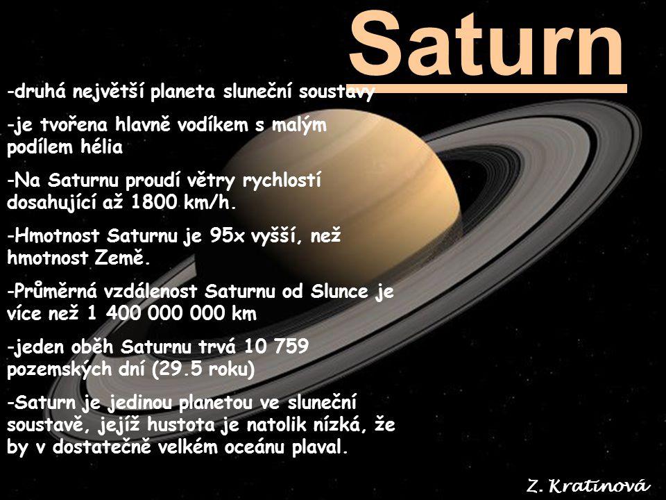 Saturn druhá největší planeta sluneční soustavy
