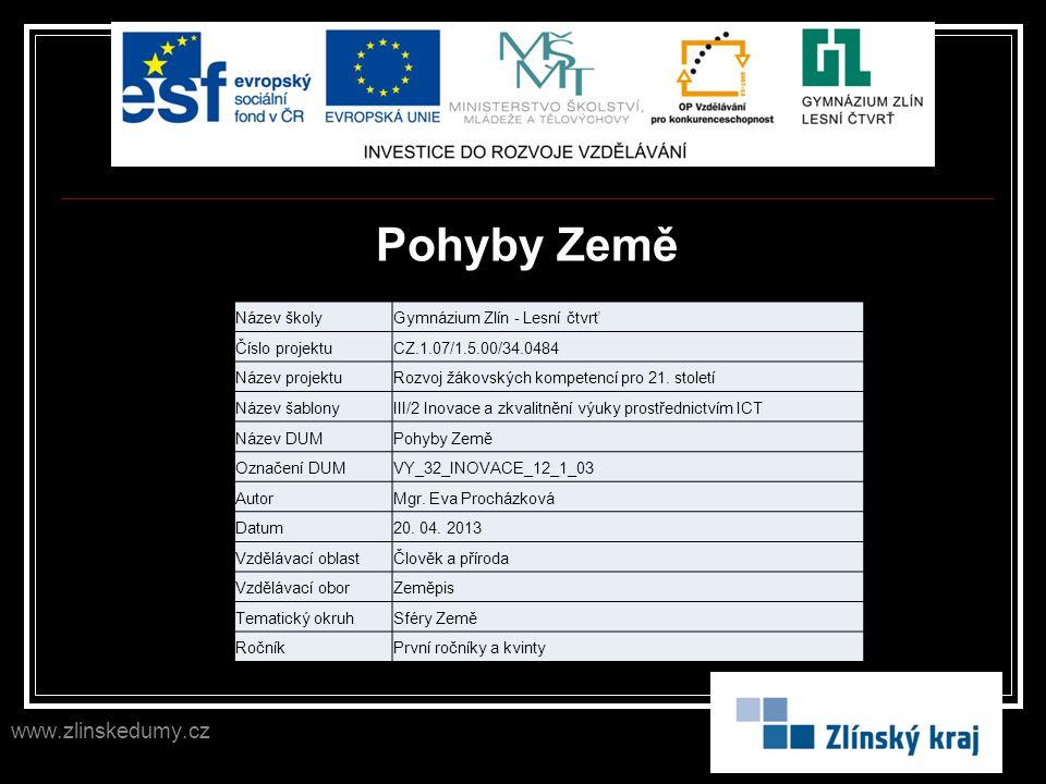 Pohyby Země www.zlinskedumy.cz Název školy