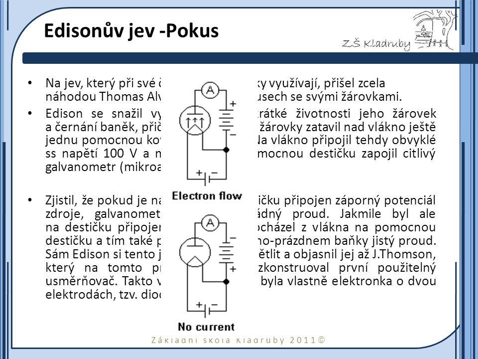 Edisonův jev -Pokus Na jev, který při své činnosti elektronky využívají, přišel zcela náhodou Thomas Alva Edison při pokusech se svými žárovkami.