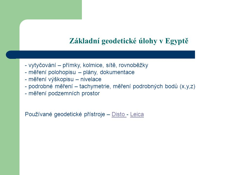 Základní geodetické úlohy v Egyptě