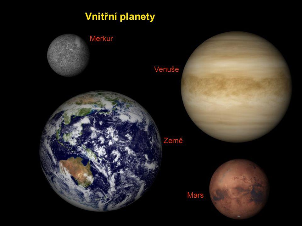 Vnitřní planety Merkur Venuše Země Mars