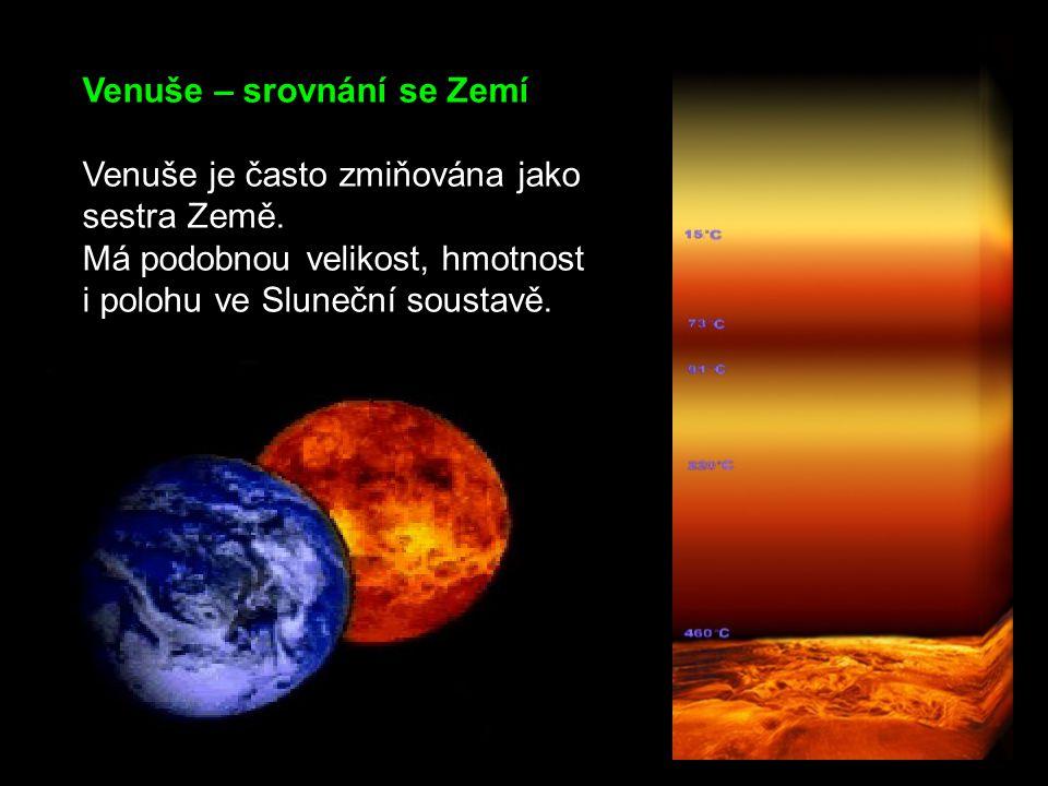 Venuše – srovnání se Zemí